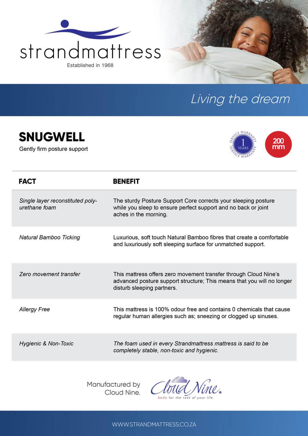 Strandmattress Snugwell