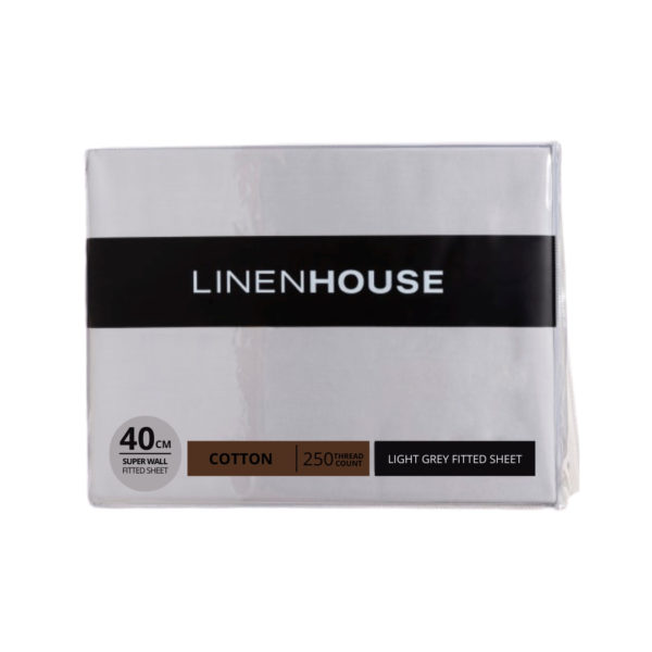 Linen House | Fitted Sheets – Light Grey, The Bed Centre