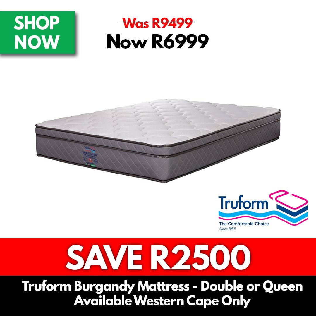 Truform Burgandy Mattress | Double or Queen - Beds for Sale Online Specials