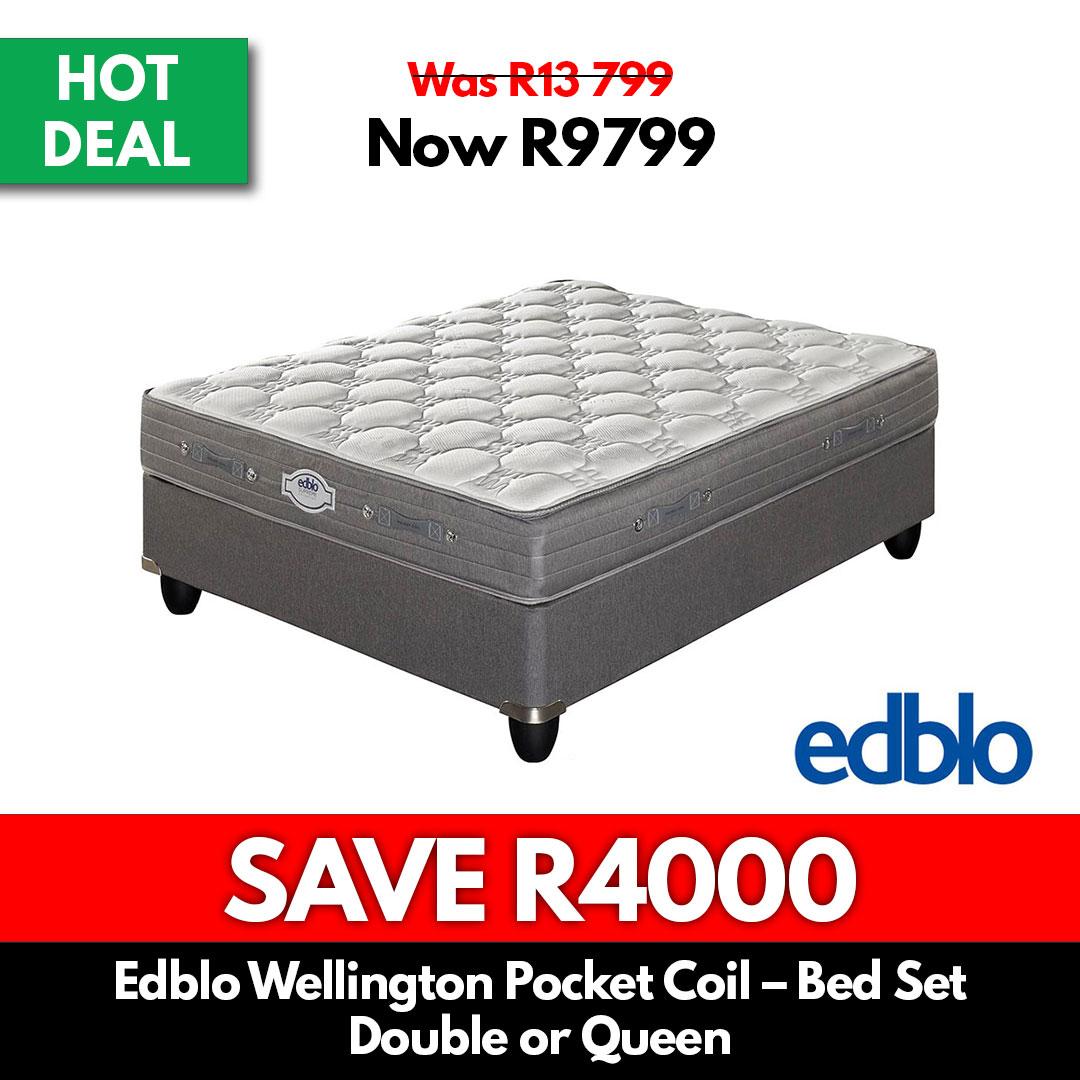 Edblo Wellington Pocket Coil   Double or Queen Bed Set - Beds for Sale Online Specials